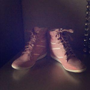 High top bootie wedge sneaker